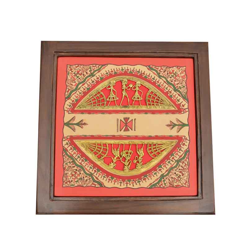 Moorni Teak Wood Side Table with Dhokra and Warli Work