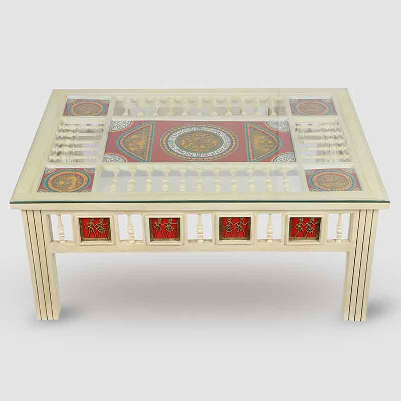 Moorni Teak Wood Centre Table with Warli and Dhokra Work in Cream