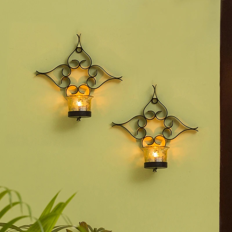 Moorni Glowing Flowers Handcrafted Wall Sconce Tea-Light Holders In Iron (Set of 2)