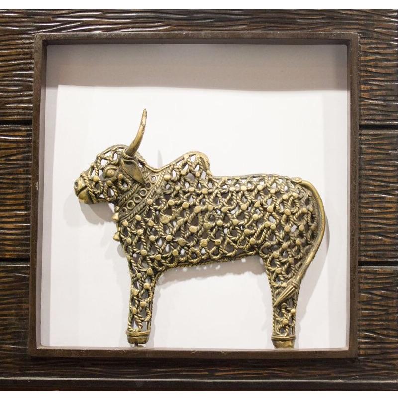 Jaali Nandi In Wooden Frame