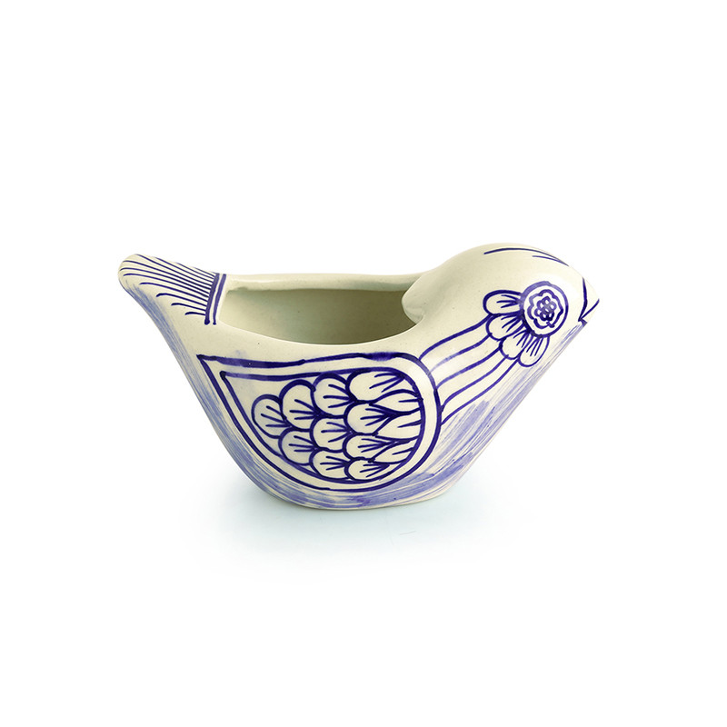 Moorni The Chirpy Couple Mughal Hand-Painted Ink Blue Ceramic Planters (Set Of 2)