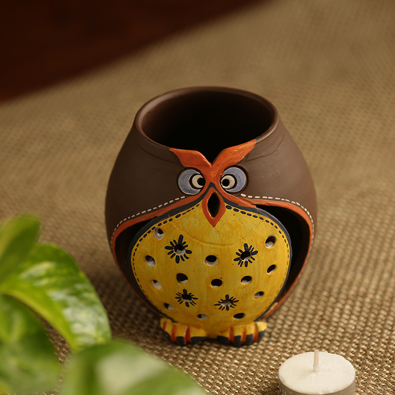 Moorni Owl Carved Terracotta Tea Light Holder