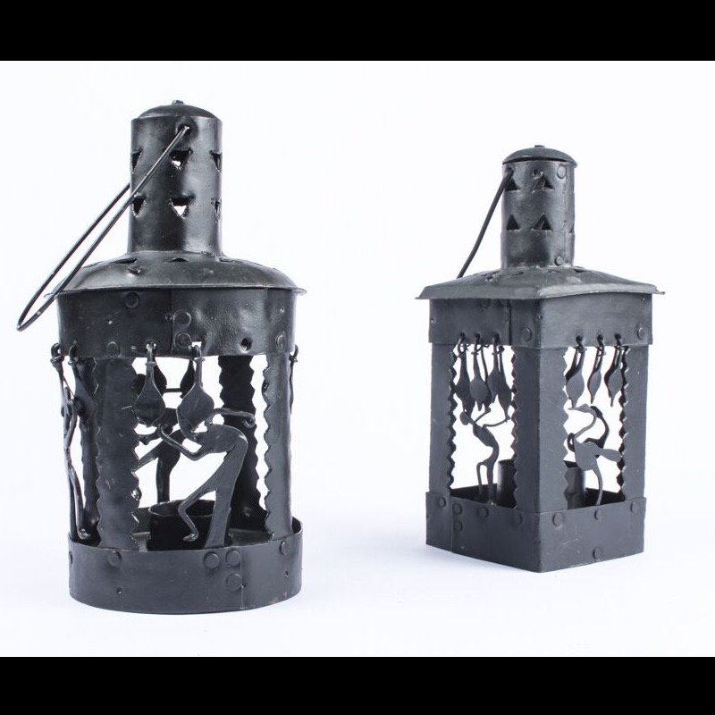 Wrought Iron T-Light Lamp Set ( Set of 2 - square and round shaped )