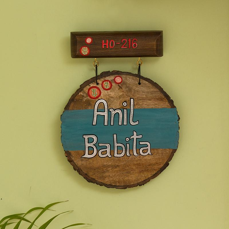 Oasis Labels Customizable Wooden Name Plate In Light Brown & Turquoise Blue