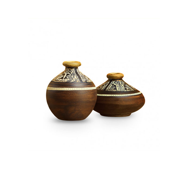 Moorni Tribal Melodies Warli Terracotta Pots In Natural Mud Brown (Set Of 2) - EL-004-018