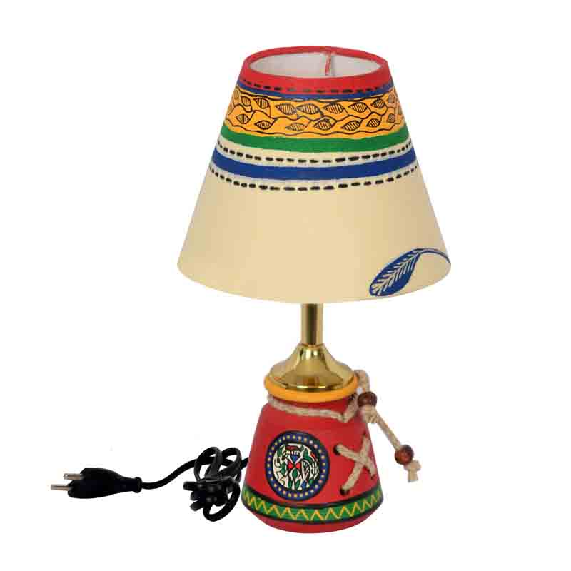 Moorni 10 Inch Terracotta Warli Handpainted Baby Lamp Red