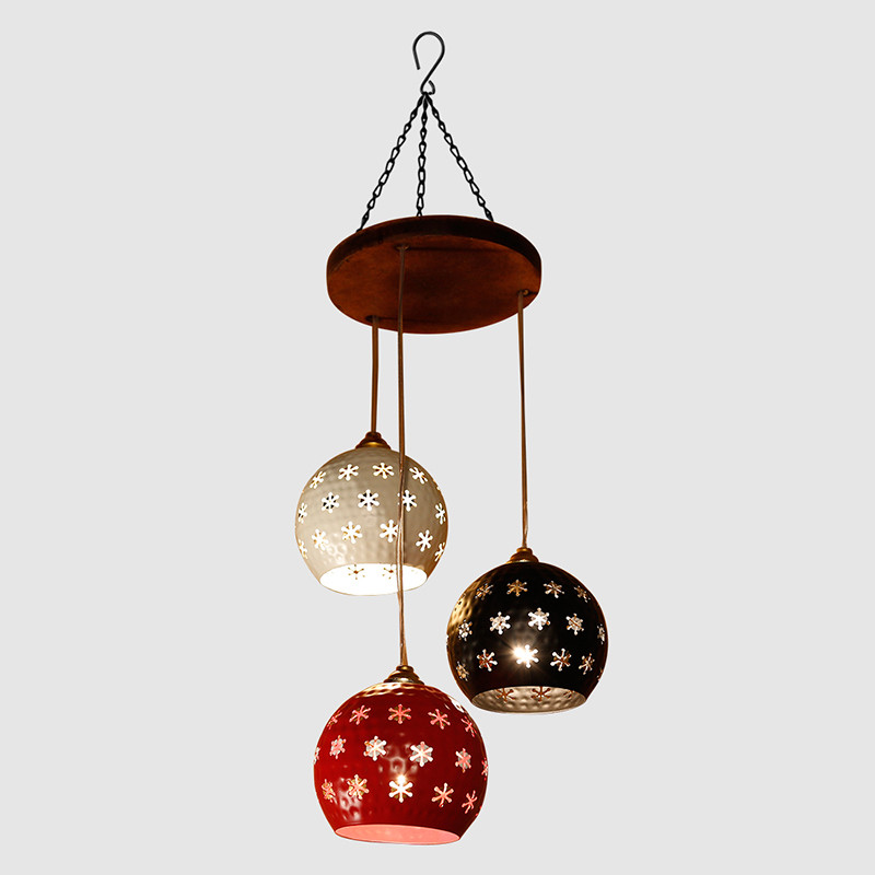 Moorni Dome Shaped Chandelier With Metal Hanging Lamp Shades (3 Shades)