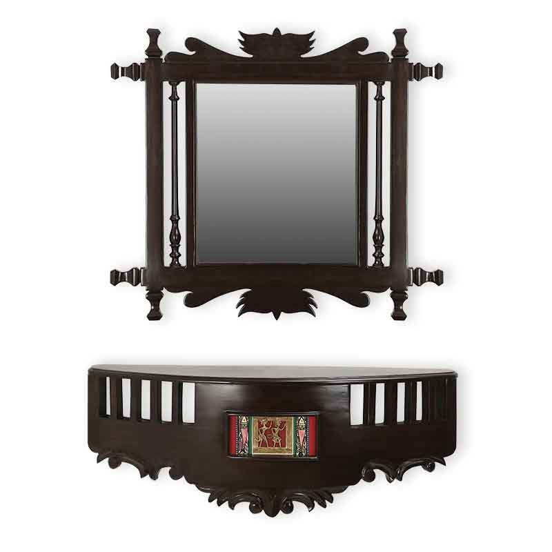 Moorni Teak Wood Royal Wall Mirror and Shelf in Walnut Brown