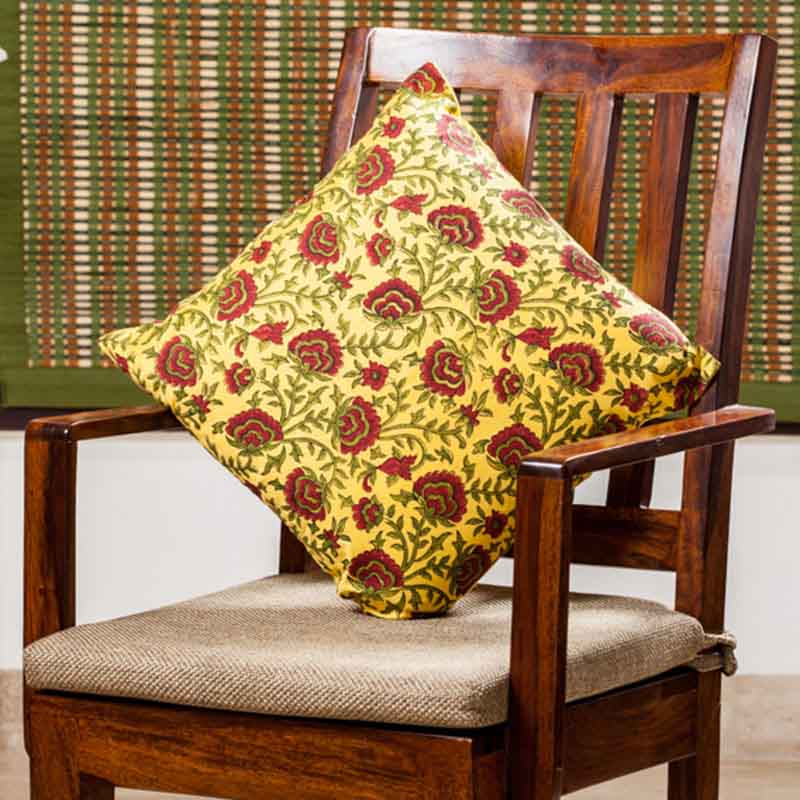 Moorni Hand Block Printing Cushion Cover in Silk - Set of 6 - EL-026-325