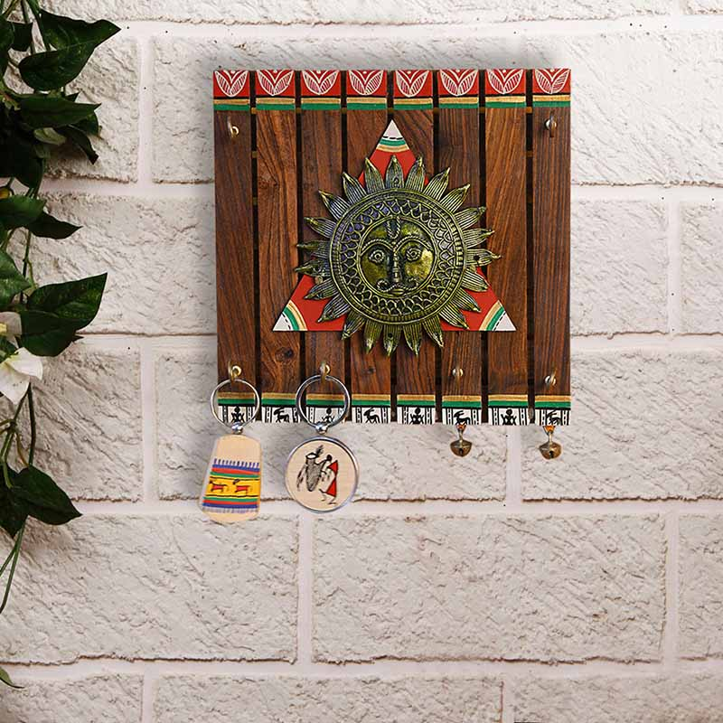 Moorni The Sun Centre Warli Hand-Painted Teak Wood Key Holder With Dhokra Art (6 Hooks)