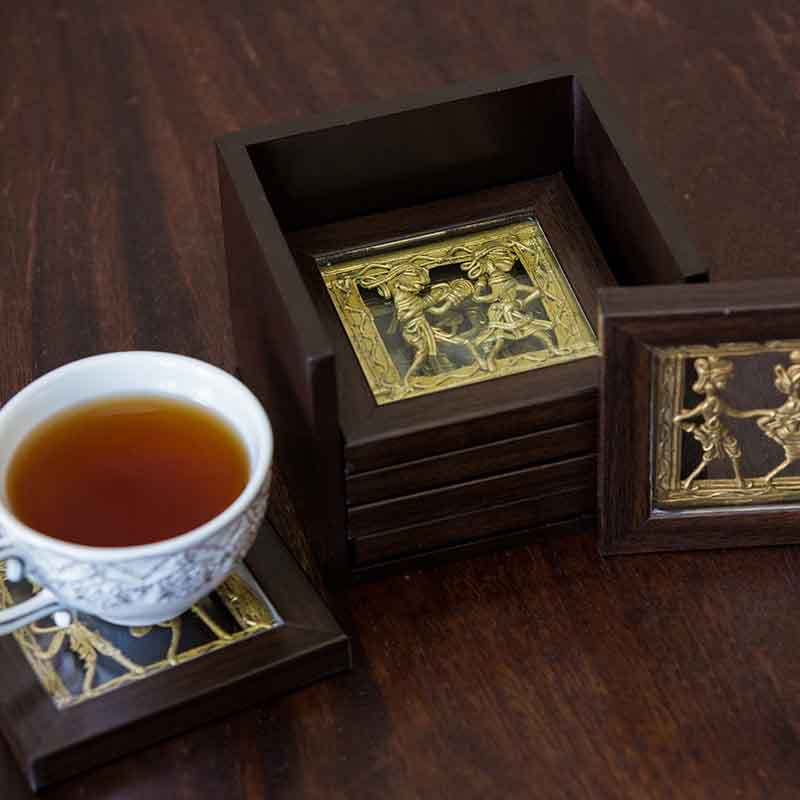 Olha-o Dhokra Coaster Set with Stand (Available in Set of 6)