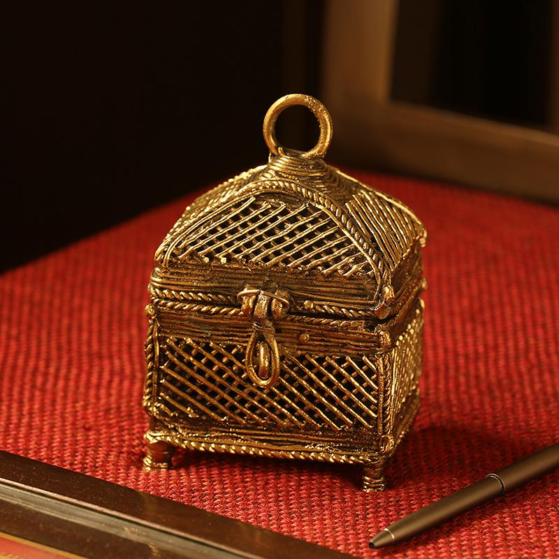 Moorni Golden Treasury Handmade Brass Jewellery Box In Dhokra Art