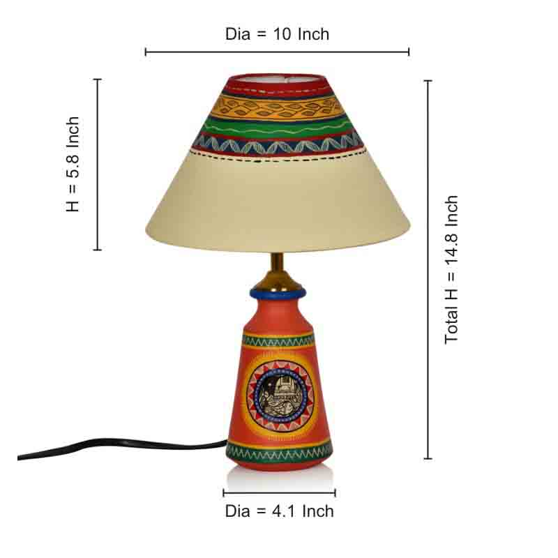 Moorni 14 Inch Terracotta Handpainted Madhubani Tapered Lamp in Orange