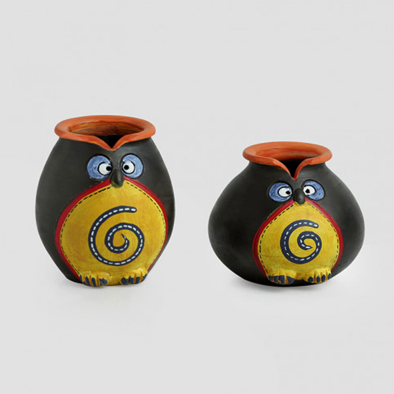 Moorni Twin Owl Pot-Faces In Terracotta (Set Of 2)