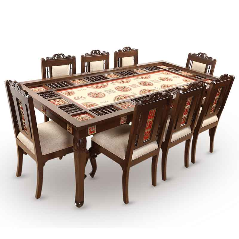 Moorni Teak Wood 8 Seater Dining Table with Warli and Dhokra Work