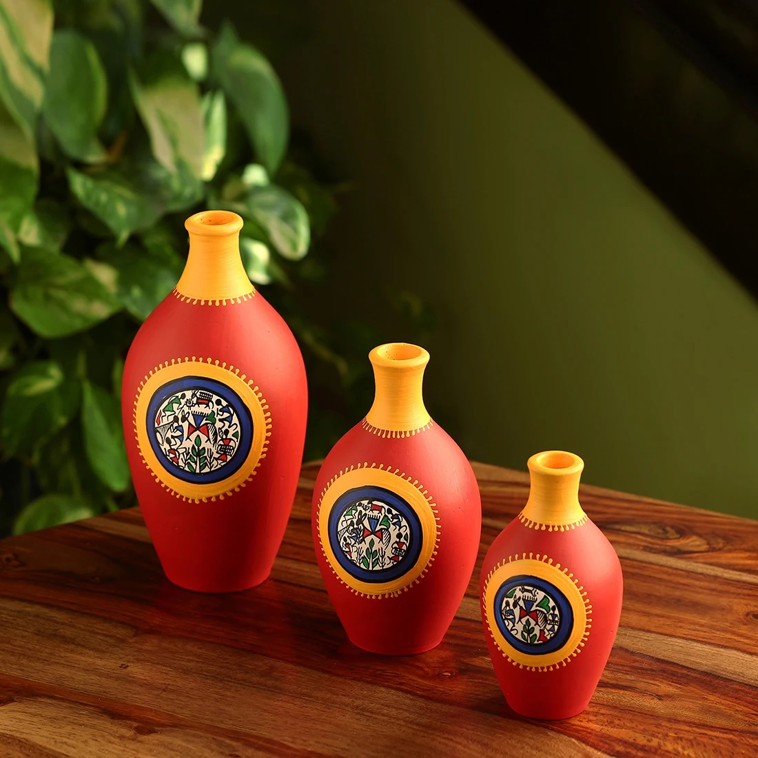 Moorni Red Pear Trio Warli Hand-Painted Vases In Earthen Terracotta (Set of 3, Tango Red)