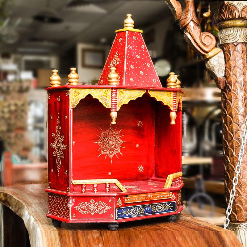 Moorni Handmade Wooden Medium (L) Temple (Multicolor)