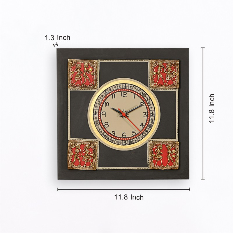 Moorni Dhokra Work and Warli Handapinted 12*12 Inch Clock in Black