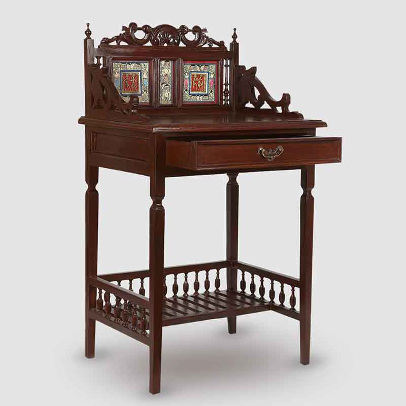Moorni Teak Wood Maharaja Writing Desk with Warli and Dhokra Work in Walnut Brown