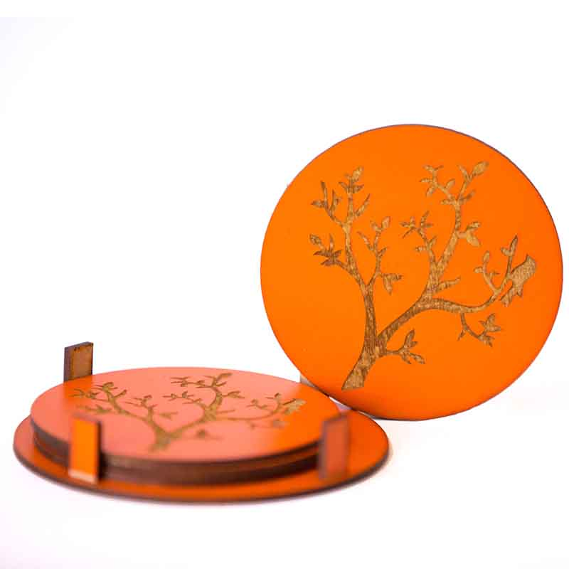 Olha-o Round Coasters with Tree Engraved