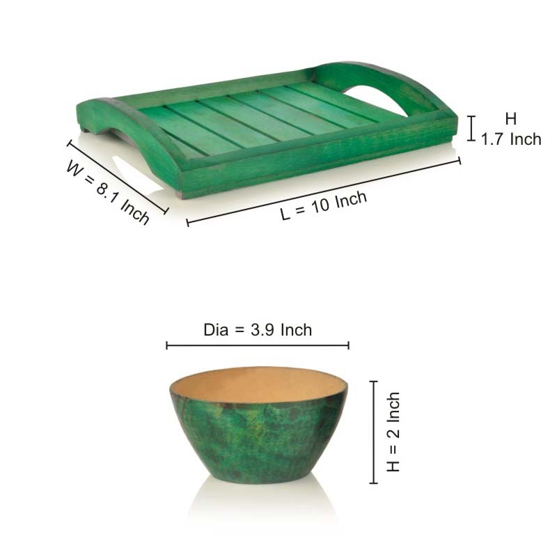 Moorni Bowl Set with Tray Green