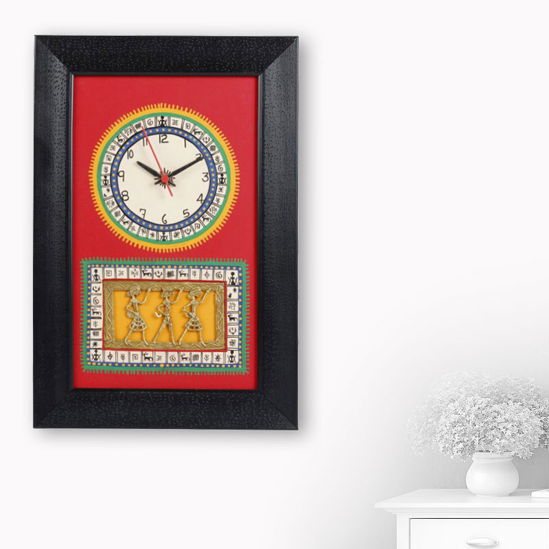 Moorni Warli Handpainted and Dhokra Work Clock 15*10 Inch in Red - EL-001-006