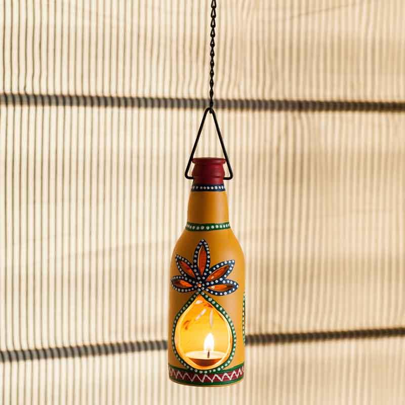 Moorni Hanging Bottle Shaped Handapinted Terracotta Tea Light Holder - EL-008-047