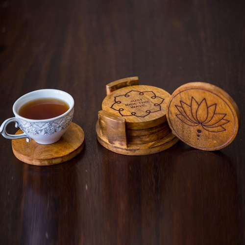 Olha-o Customized Quirky Coasters Round with Stand Set of 4