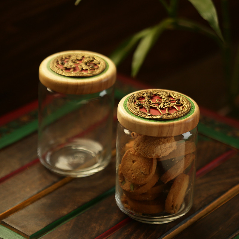 Moorni Duals Of Dhokra Hand-Painted Snacks & Cookies Jar Set In Glass & Wood