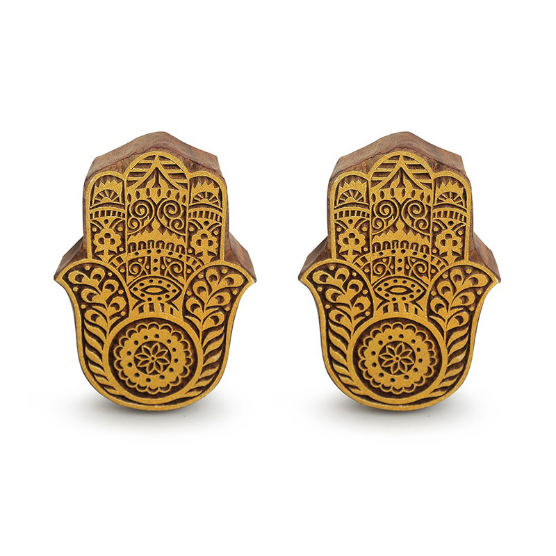 Moorni Palm Pair Hand Carved Block Wall Decor In Sheesham Wood (Set of 2)
