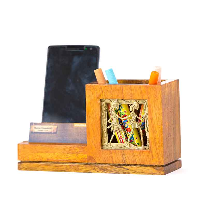 Olha-o Mango Wood Pen Stand with Card & Mobile Holder