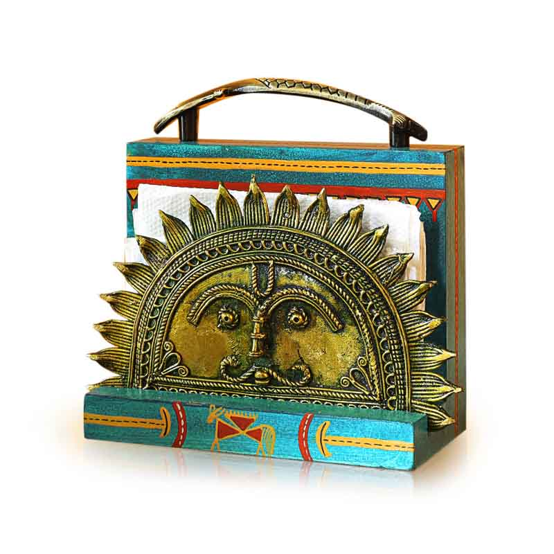 Ocean Blue Handpainted Rising Sun Napkin Holder With Dhokra Art