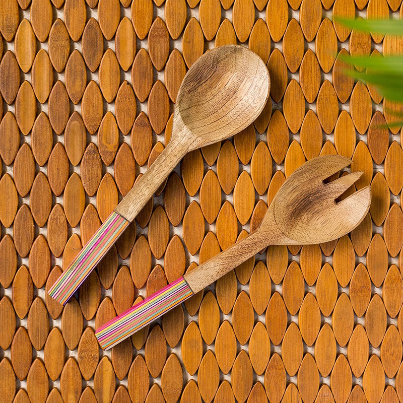 Moorni The Rainbow Pack Hand-painted Serving Spoon & Fork Set In Mango Wood (Set of 2)