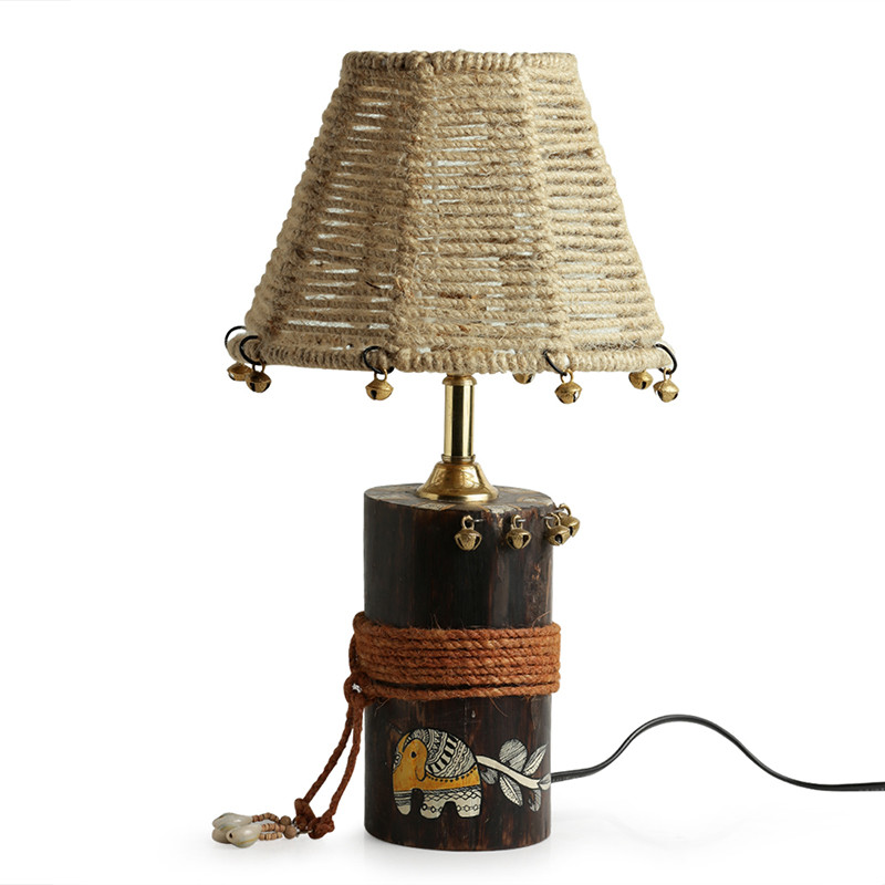 Moorni The Jute-Shade Log Madhubani Hand-Painted Table Lamp In Wood