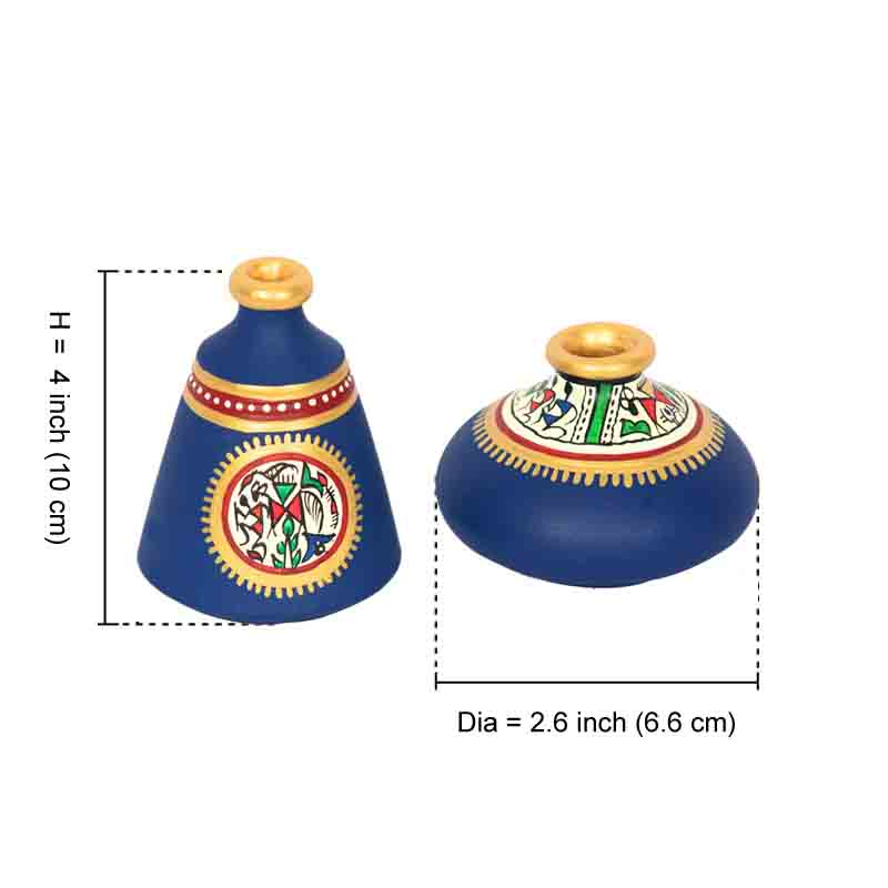 Moorni Terracotta Warli Handpainted Pots Blue Set of 2