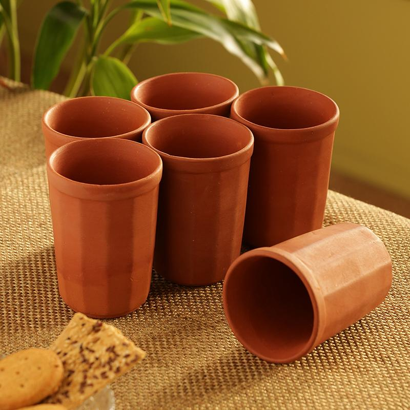 Moorni Handmade Water Glasses In Earthen Clay (Set Of 6)