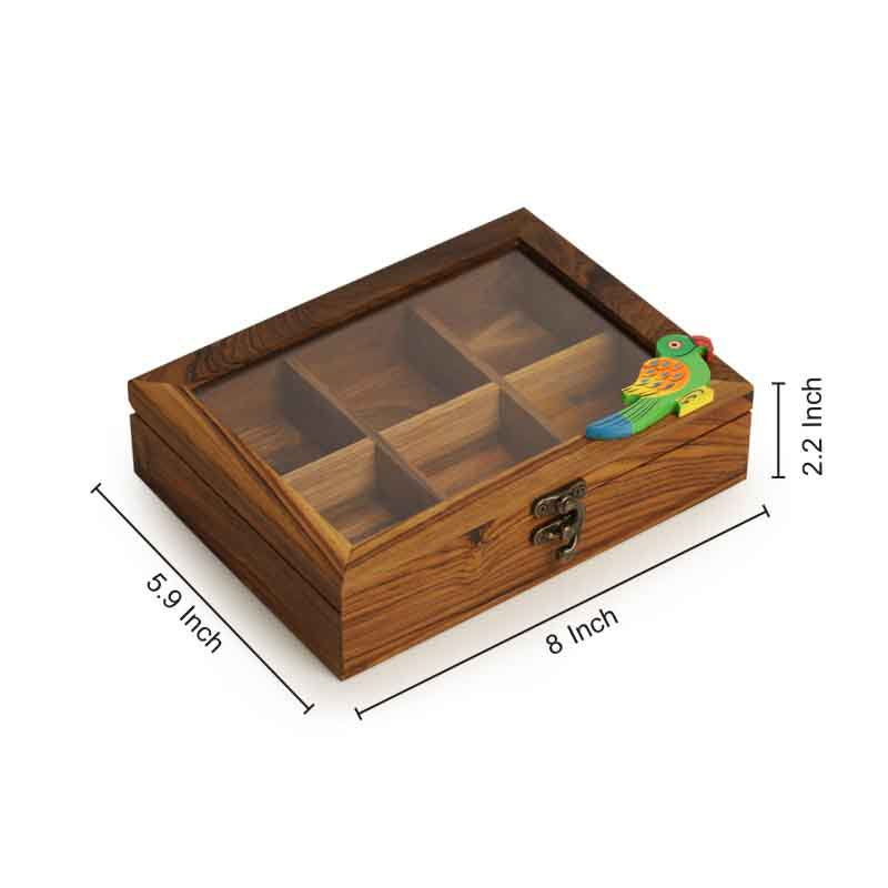 Moorni Bird Spice Box in Teak Wood - EL-005-244