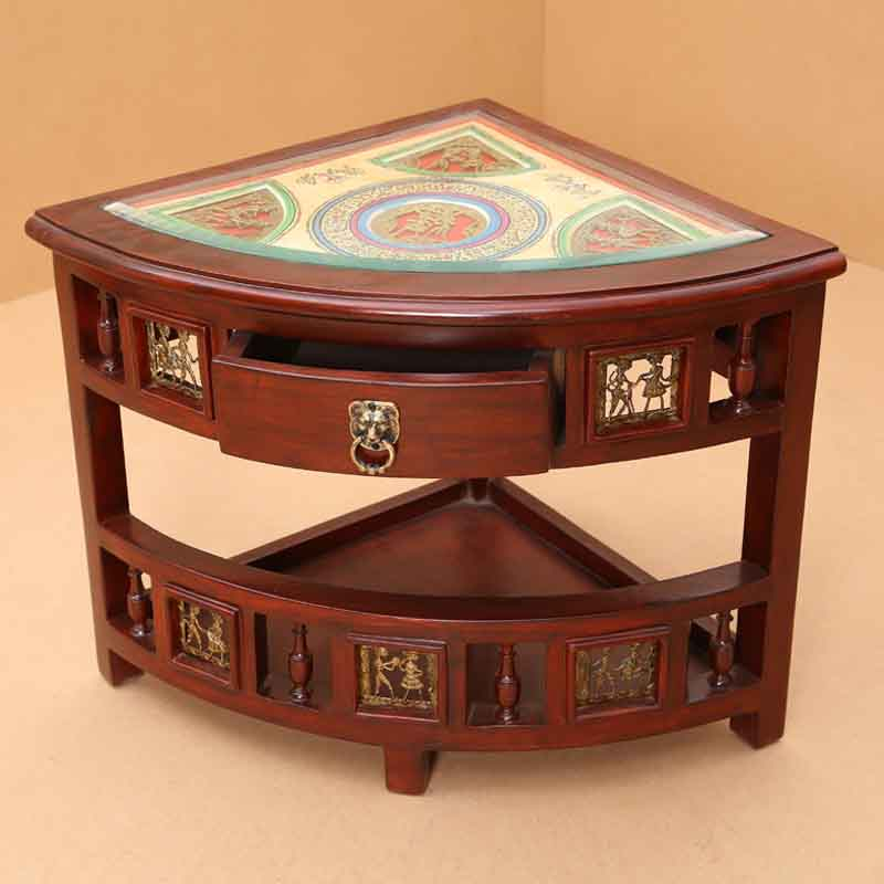 Moorni Teak Wood Corner Table with Dhokra and Warli Work - EL-020-081