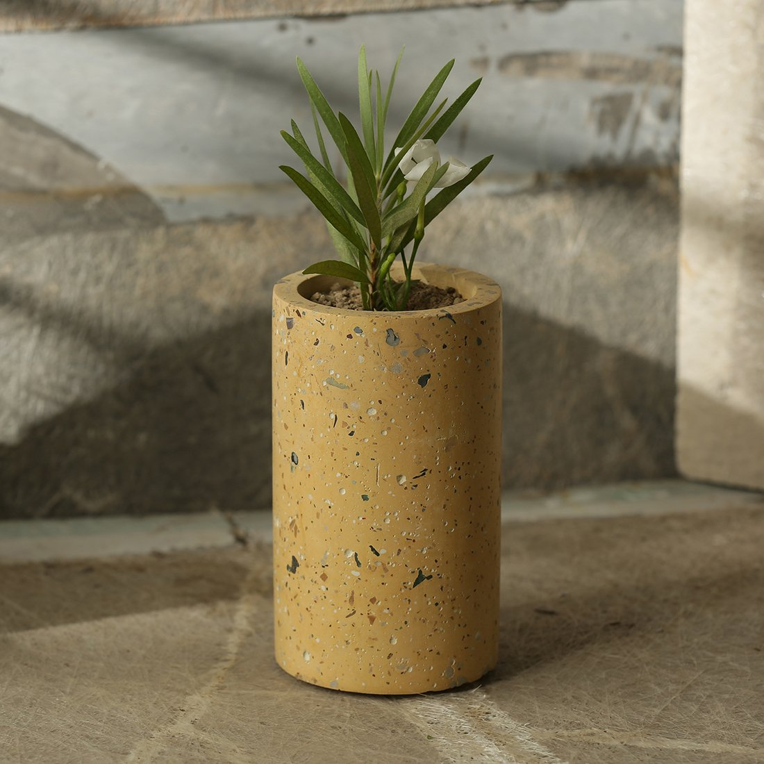 Moorni The Tall Chokor Handcrafted Terrazzo Planter In Concrete