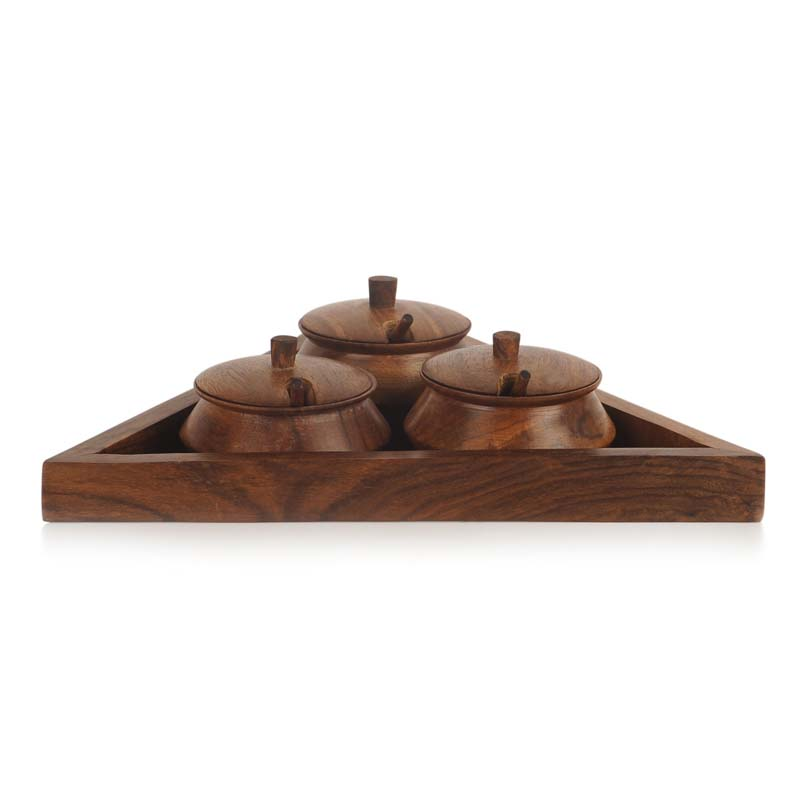 Moorni Triangular Jar Set with Tray and Spoon in Sheesham Wood
