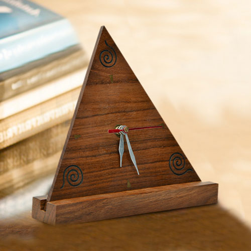 Moorni Triangular Sheesham Wooden Engraved Table Clock with Stand