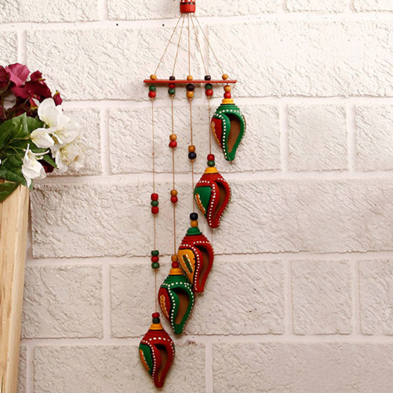 Moorni A Shankh Bouquet Hand-Painted Decorative Hanging in Terracotta - EL-015-051