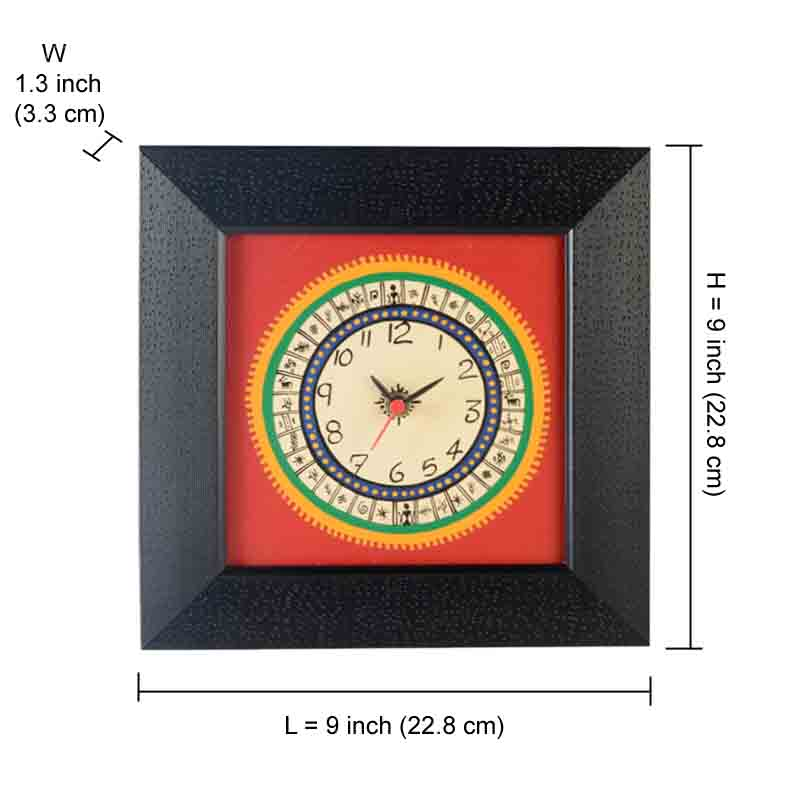 Moorni  Warli Handpainted Clock 9*9 Inch Red