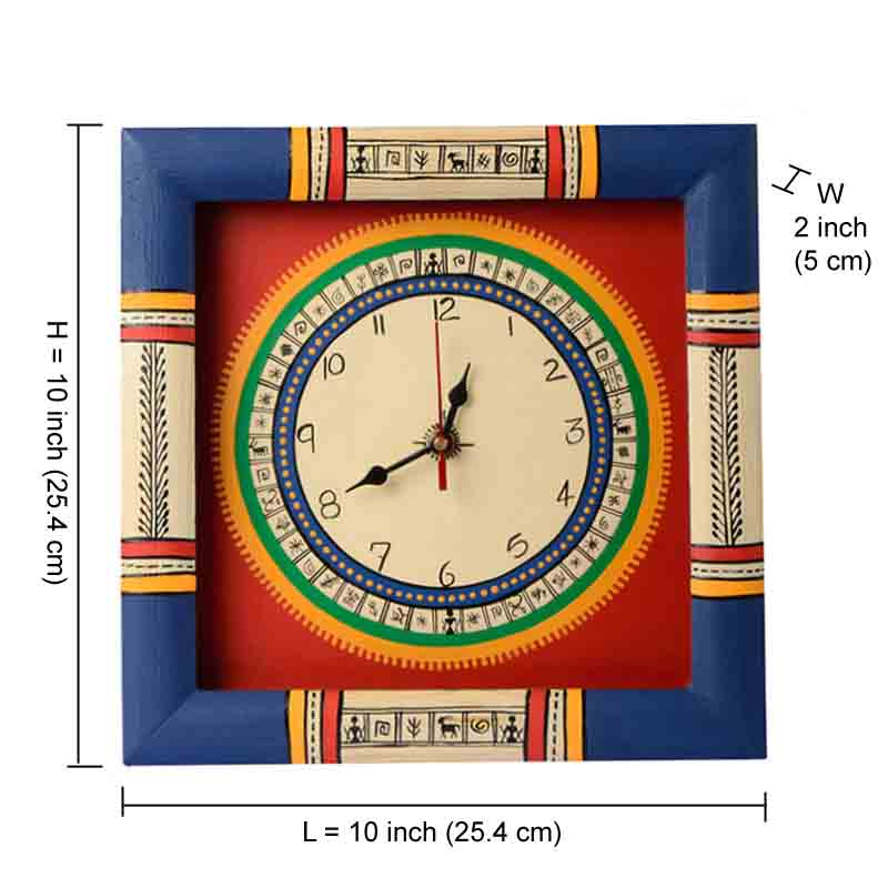 Moorni  Warli Handpainted Clock 10*10 Inch Red