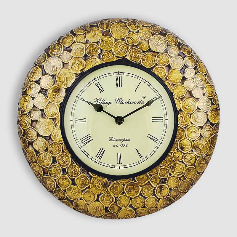 Moorni Coins In Time Heritage Wall Clock With Brass Engraving - EL-001-040