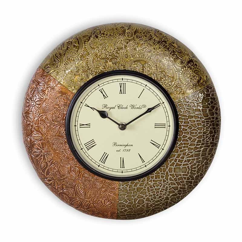 Moorni Metal Tint Trio Heritage Wall Clock Brass Engraving - EL-001-042
