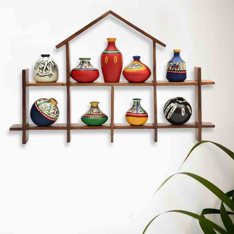 Moorni 9 Terracotta Warli Handpainted Pots with Sheesham Wooden Hut Frame Wall Hanging