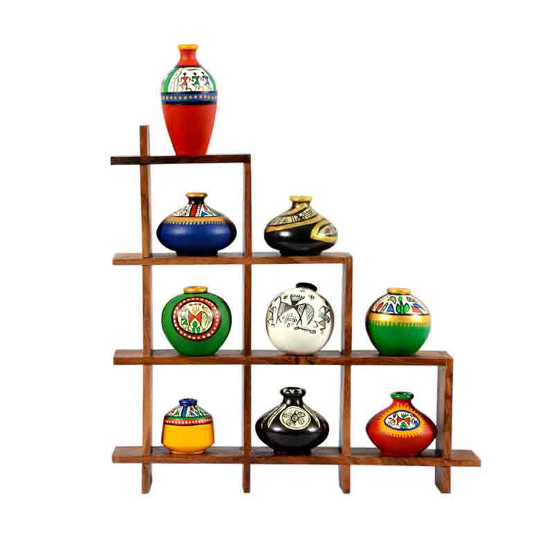 Moorni 9 Terracotta Warli Handpainted Pots with Sheesham Wooden Frame Wall Hanging