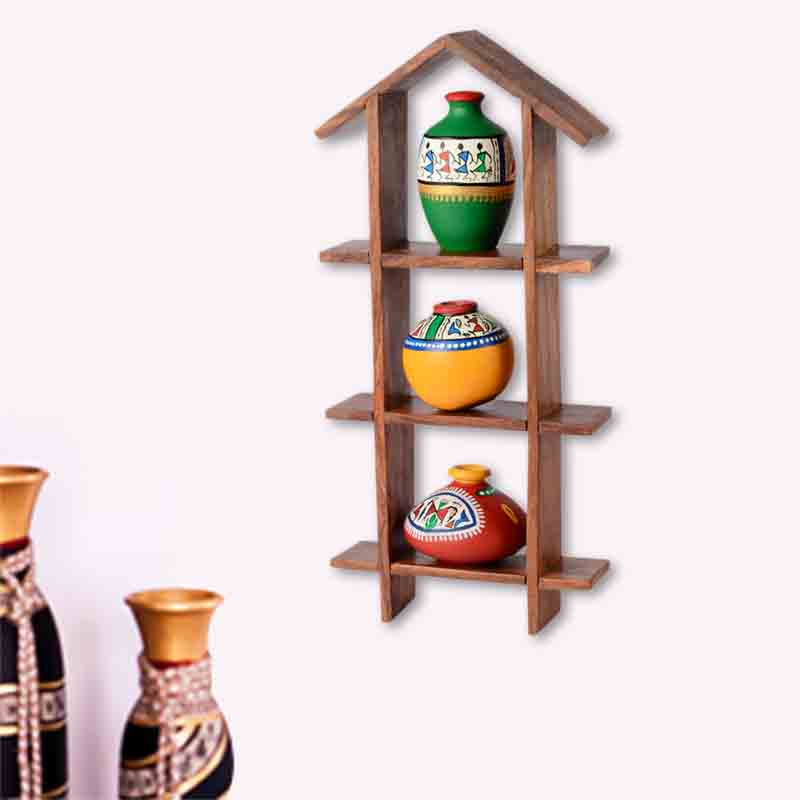 Moorni 3 Terracotta Warli Handpainted Pots With Sheesham Wooden Hut Frame - EL-002-006