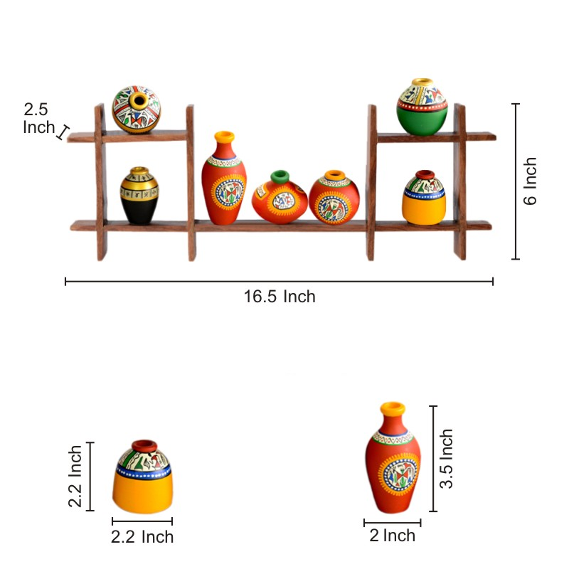 Moorni 7 Terracotta Warli Handpainted Pots with Sheesham Wooden Frame Wall Hanging